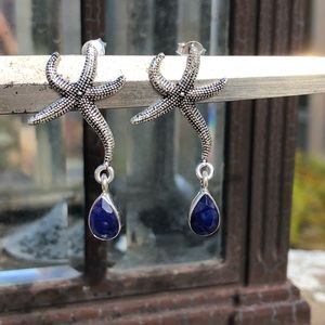 Jewelry - Sapphire Indian Sterling Silver Starfish Earrings